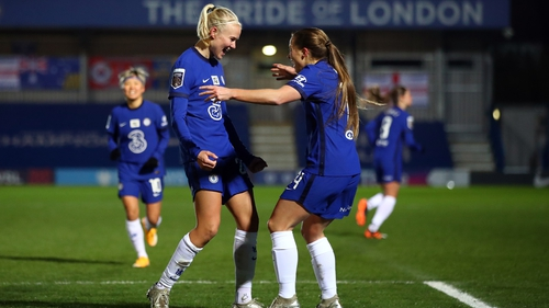Pernille Harder celebrates Chelsea's opener with Fran Kirby
