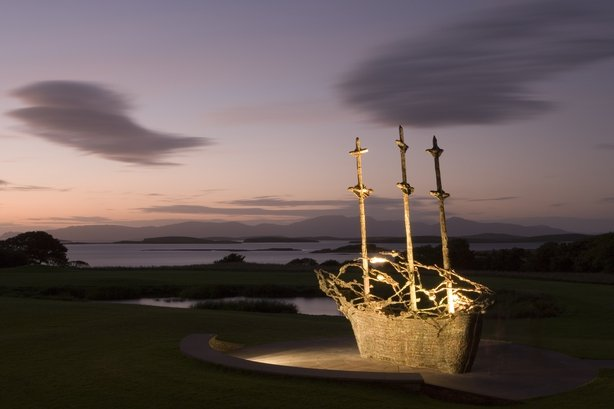 National Famine memorial at Murrisk, Co, Mayo, depicting a coffin ship