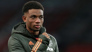 Amad Diallo at Old Trafford before the FA Cup match between Manchester United and West Ham