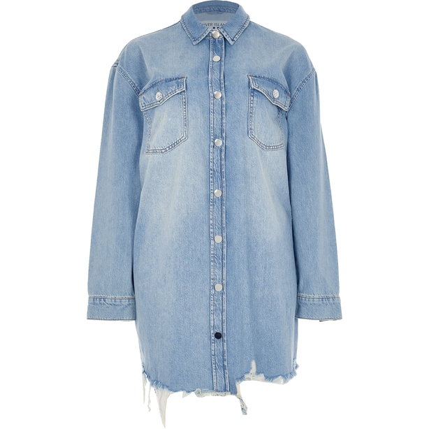 River Island Blue Denim Mini Shirt Dress