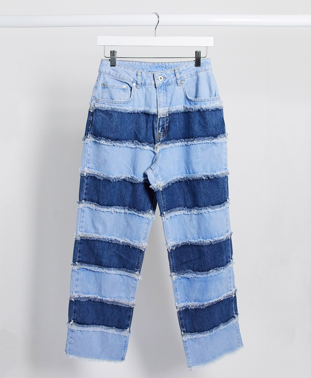 The Ragged Priest Mom Jeans in Patchwork Stripe