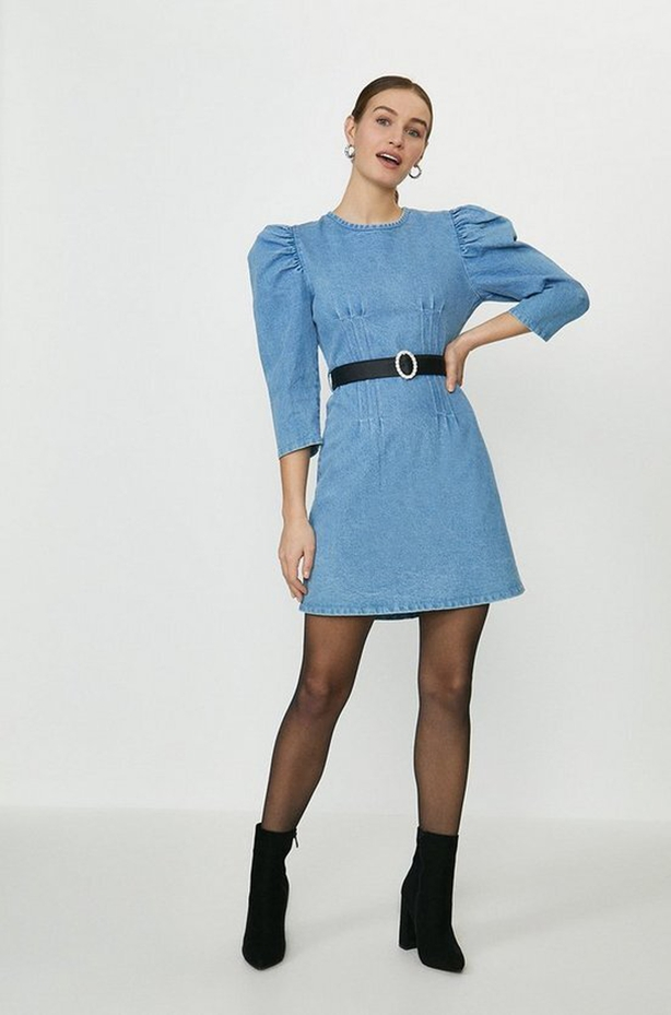 Coast Puff Sleeve Fitted Denim Mini Dress;15 Denier Tights; Suedette Block Heel Boots