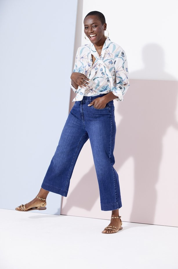 Damart Tie Neck Print Blouse, from; Ankle Grazer Trousers