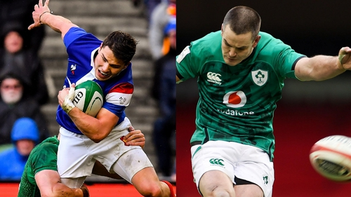 French scrum-half Antoine Dupont, and right, Ireland out-half Johnny Sexton