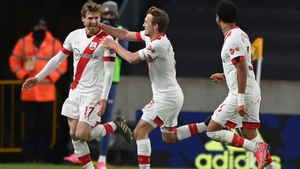 Southampton players celebrate after Stuart Armstrong's late goal sealed a 2-0 victory