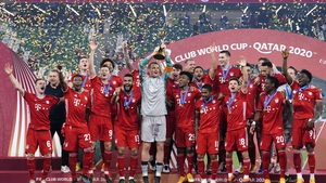 Bayern Munich captain Manuel Neuer lifts the FIFA Club World Cup trophy