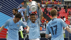 Gabriel Jesus with the FA Cup in 2019