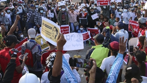 Thousands of people have joined nationwide rallies demanding the country's generals relinquish power
