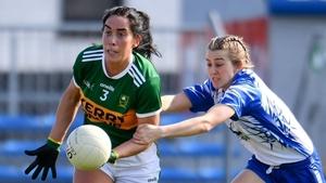 New Kerry captain, Aislinn Desmond (l) evades Waterford's Aileen Wall