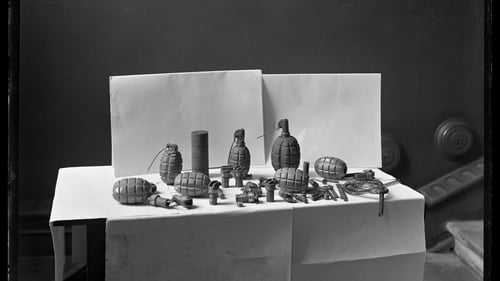 Bombs found by the British Auxiliaries in an IRA bomb factory at Heron and Lawless bicycle shop on Dublin's Parnell Street in December 1920. Photo: Joseph Cashman/RTÉ Cashman Collection/RTÉ Stills Library