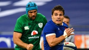 France's scrum-half Antoine Dupont en route to scoring a try during the 2020 Six Nations