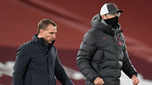 Brendan Rodgers (l) and Jurgen Klopp go head to head at 12.30pm