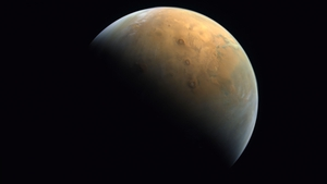 The image was taken from an altitude of 24,700km above the Martian surface on Wednesday