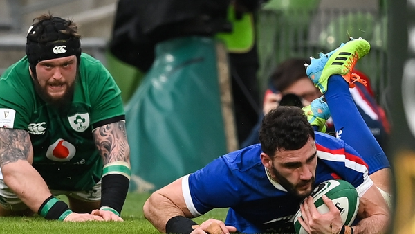 Charles Ollivon of France scores his side's first try
