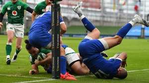 James Lowe came close to a first-half try for Ireland