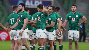 Ireland players after the defeat to France