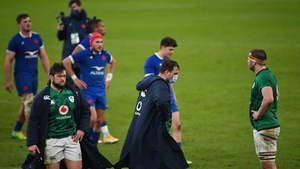 Ireland players (from left) Andrew Porter, Tadhg Beirne and Iain Henderson react to the defeat to France