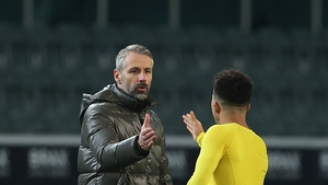 Marco Rose shakes hands with Jadon Sancho of Dortmund after January's match against his Monchengladbach side