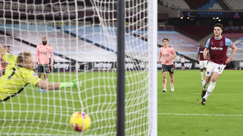 Declan Rice found the net just before the break