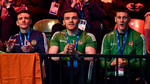 Brendan Irvine, Emmet Brennan, and George Bates at the Road to Tokyo European Boxing Olympic Qualifying Event in 2020
