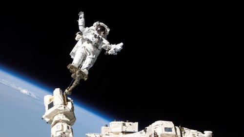 An astronaut outside the International Space Station