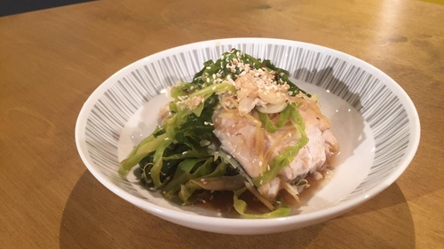 Paul Flynn's steamed hake, peppered cabbage, soy, ginger and garlic.