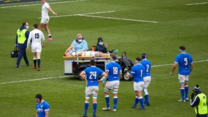 Jack Willis is taken off the Twickenham pitch