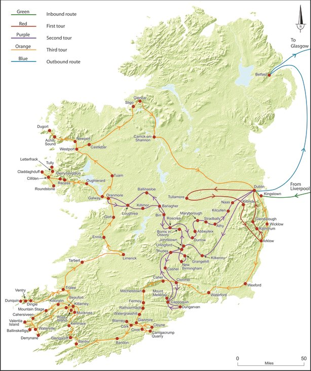 Map of Nicholson's trip with routes