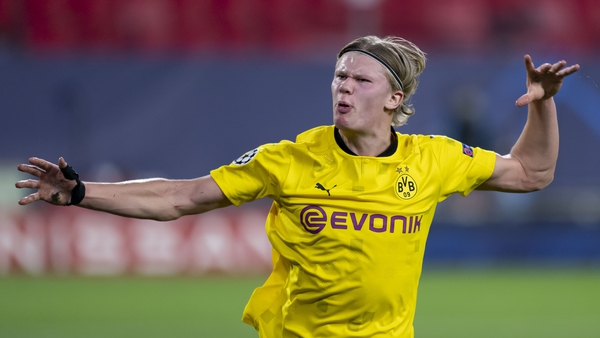 Erling Braut Haaland of Borussia Dortmund celebrates after scoring his team's second goal