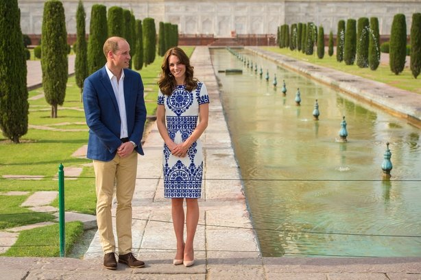 The Duke and Duchess of Cambridge during a visit to the Taj Mahal in India during day seven of the Royal tour to India and Bhutan.