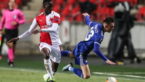 Abdallah Sima (l) of Slavia in action against Luke Thomas of Leicester