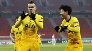 Gareth Bale celebrates with fellow goalscorer Son Heung-Min
