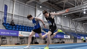 Mark English, right, dips for the line to win the Men's 800m, ahead of Cian McPhillips