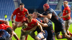 Gavin Coombes dives to score Munster's third try