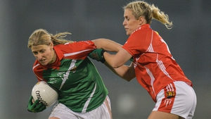 Cora Staunton up against Bríd Stack during a Division 1 league final back in 2016