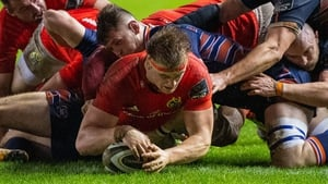 Gavin Coombes scores Munster's third try in their win over Edinburgh