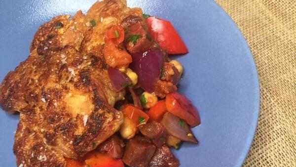 Paul McDonald's chicken and chorizo casserole with chickpeas.