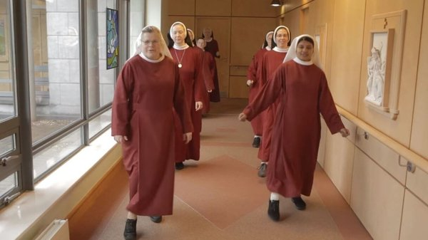 The nuns can be seen dancing in the halls, rooms and grounds of the monastery of St Alphonsus in Drumcondra