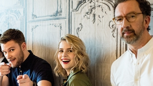 (L-R) Jack Reynor, Lucy Boynton and John Carney, pictured here promoting Sing Street in New York in April 2016