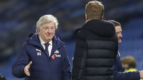 Roy Hodgson shakes hands with Graham Potter after Palace's dramatic win