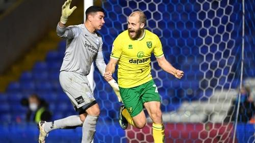 Pukki celebrating after scoring Norwich's second goal