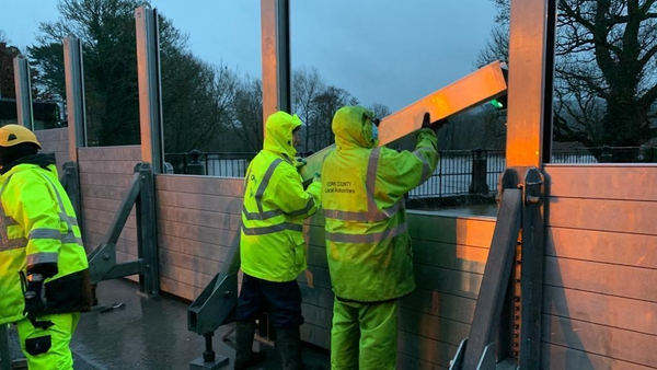 Flood barriers were erected in Mallow, Co Cork