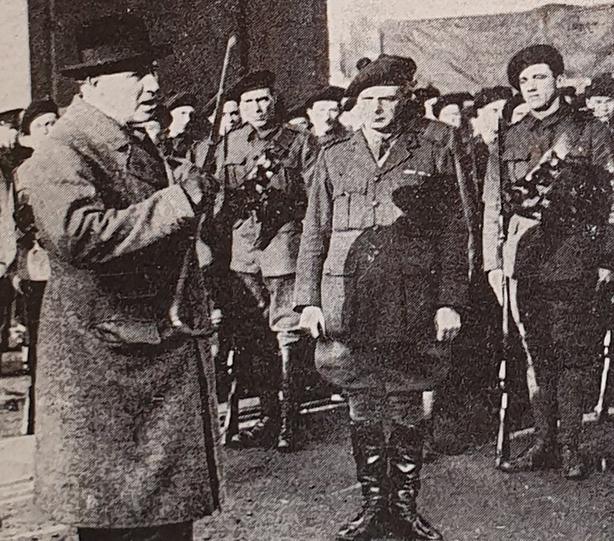 Chief Secretary Hamar Greenwood making a speech to the assembled cadets. Photo: Irish Life, 28 January 1921