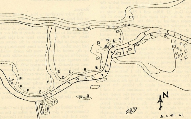 Sketch map of the ambush location by the Cork Brigade. Photo: Military Archives Ireland, MA/MSPC/A/1