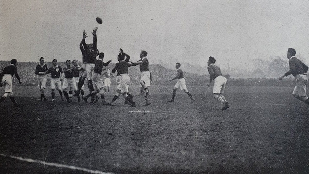 The Irish and Scottish rugby teams in a tussle for the ball at the match at Lansdowne Road. Photo: Irish Life, 4 March 1921