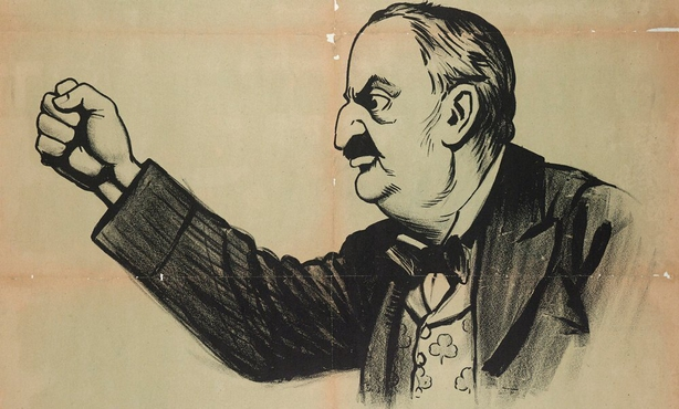Detail of John Redmond from a political poster Photo: LSE Library
