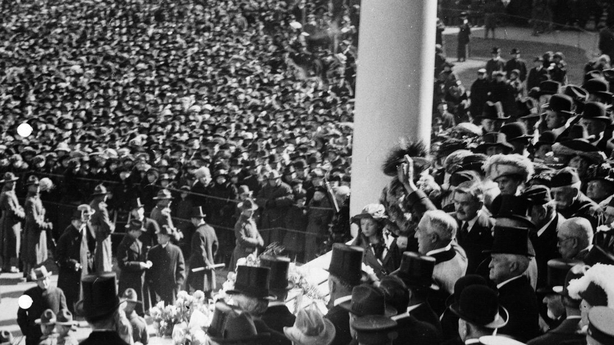 President Harding waving to crowd, from inaugural stand on east portico of U.S. Capitol, March 4, 1921 Photo: Library of Congress