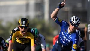 Bennett (R) crosses the line ahead of David Dekker