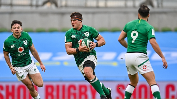 CJ Stander, right, and Hugo Keenan in action against France