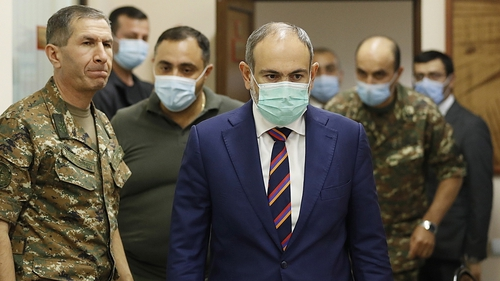 Armenian Prime Minister Nikol Pashinyan at a meeting with the military last year (File pic)